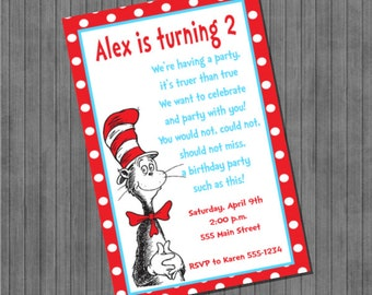 Dr. Seuss Cat in the Hat Invitations