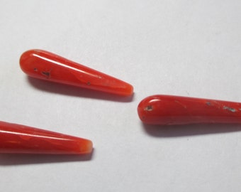 Set of three drops in genuine untreated red coral