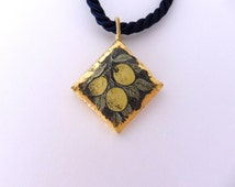 Sicilian lava stone pendant - yellow lemons on brown background- diamond pendant- gold all around- comes with brown necklace- summer gift