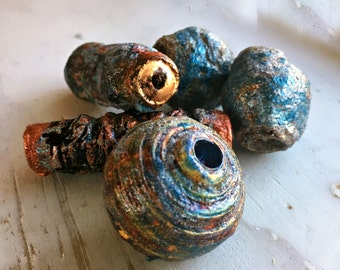 Loose Paper Beads  Highly Textured Mixed Media