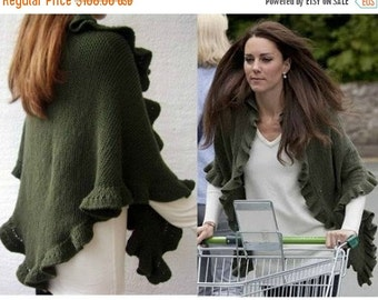 ON SALE Kate Middleton Shawl, Kate Middleton Olive Green Three Sides Ruffled Cute Shawl, Handknit, Wool, Express Delivery