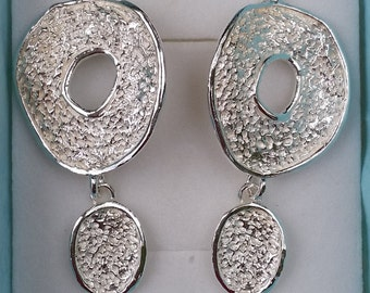 Silver Earrings Sterling Silver 925 Dangle Texture Handmade Artisan Crafted Women Free Shipping