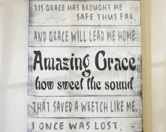 Amazing Grace Pallet Sign Shabby Chic Wall Decor Christian Wall Art Vintage Sign Farmhouse Chic Sign Distressed Sign Handmade Handpainted