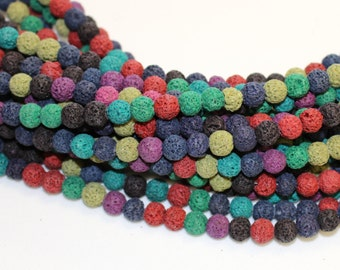 8mm Multi Colored Lava Beads for Essential Oil Bracelets and Necklaces Spiritual Health and Wellness Beads