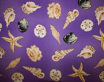 "Seashells Ocean Print #19 100% Cotton Quilting Fabric Two Town Studios Designer Print 45"" Wide By The Half Yard"