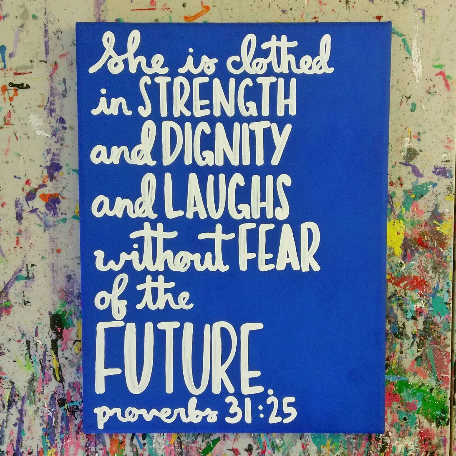 She Is Clothed With Strength And Dignity Canvas: Proverbs Bible Verse Canvas Quote Art She Is Clothed In