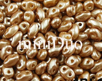 PASTEL AMBER: MiniDuo Two-Hole Czech Glass Seed Beads, 2x4mm (5 grams)