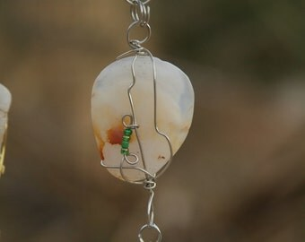 Rock Mobile, 3 chain wire wrapped rock mobile, polished stones, original desert art, joshua tree souvenier, glass bead art