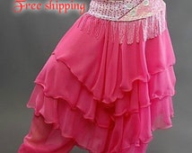 Belly dance, Belly dance pants, Pink belly dance skirt,Pink belly dance pants, Belly dance ruffle skirt, Belly dancing pants, Belly dancing