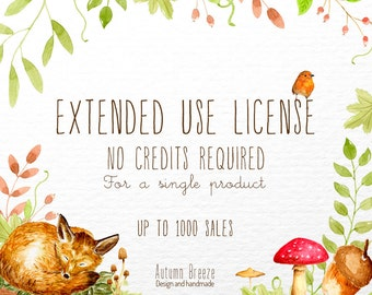 Commercial License for a single clip art set  |  up to 1000 sales