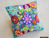 "Embroidered Pillow cover 16x16 in - Cushion covers ""Bright Paradise""-  pillows sheep Wool - Turquoise decorative pillows - Peruvian pillows"