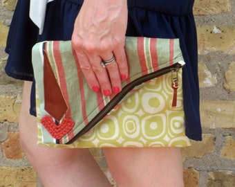Fold Over Clutch- Brown/Green/Red
