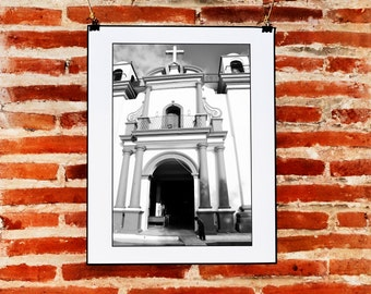 Black and White Street Photography Download Wall Art, Church Photography, Instant Digital, Printable Black and White Photograph, Photo Art