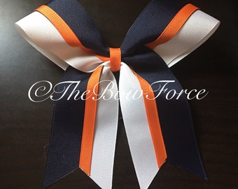 Orange Blue Navy white Cheer/Softball Bow -
