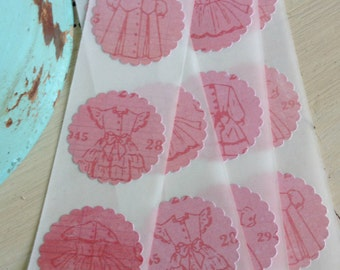 12 Pretty Vintage Dresses Stickers / Seals / Shabby Chic / Cottage Style