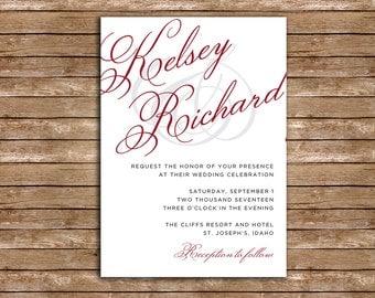 Classic Script Font Wedding Invitation Package