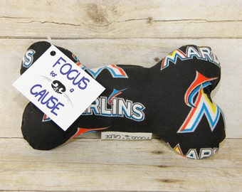 Miami Marlins Dog Toy, Squeaky Toy, Soft Dog Toy, Sports, Focus for a Cause