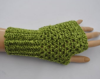 Ladies green crocheted fingerless gloves, mittens