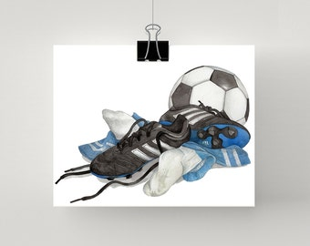Soccer print in blue