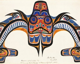 "Johnny Kit Elswa (First Nations, Haida) : ""Kahalta. Dog Fish."" (1883) - Giclee Fine Art Print"