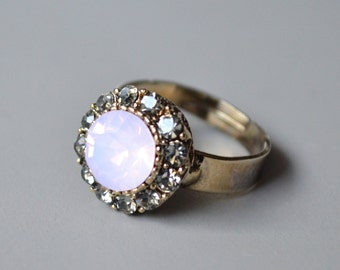 Pink opal crystal ring