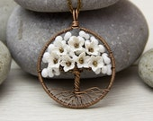 Tree-Of-Life Necklace Pendant Copper Wire Wrapped Pendant White Necklace Brown Wired Copper Jewelry Wire Wrapped ModernTree  Necklace Rustic