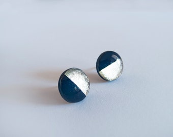 Navy Blue Silver Round Stud Earrings - Hipoallergenic Surgical Steel Post