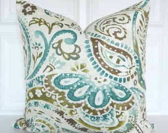 Decorative Pillow Cover - Teal, Blue, Green, Brown - Watercolor Pattern - Paisley - 18x18, 20x20, 22x22, Lumbar - Throw Pillow