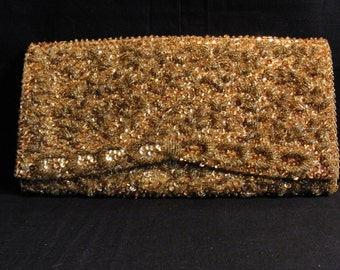 Vintage Gold Beaded and Sequin Evening Bag