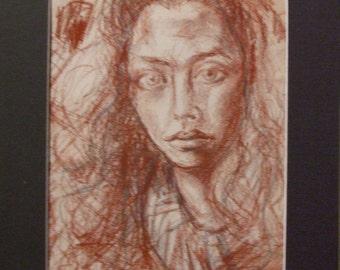 Original Charcoal Drawing-Self Portrait-Vintage