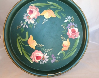 Vintage Green Metal Tole Round Tray with Handpainted Roses and Flowers