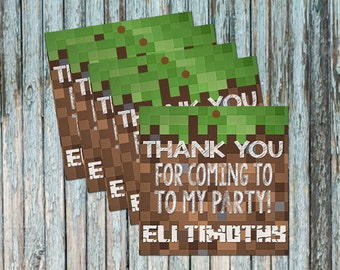 Personalized Pixel Art Birthday Thank You Tags - Digital File - Inspired by Minecraft