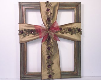 Christian Cross Home Décor -- Vintage -- Home Décor -- Red, Moss Green & Tan