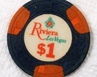 Vintage Riviera Las Vegas 1 Dollar Casino Chip / Issued 1980's / Out of Circulation