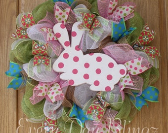 Easter Wreath, Burlap wreath, Spring Wreath