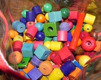 Big Lot of Large Wood Beads Educational Kids Toys Pre-School Kindergarten