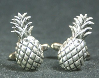Silver Pineapple Cufflinks Free Gift Bag
