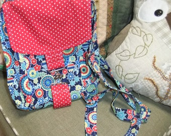 Small Messenger Bag - made by me with blue floral fabric and red polka dot flap - crossover purse