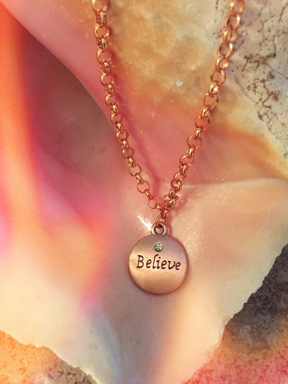 Copper disc charm word embossed necklace
