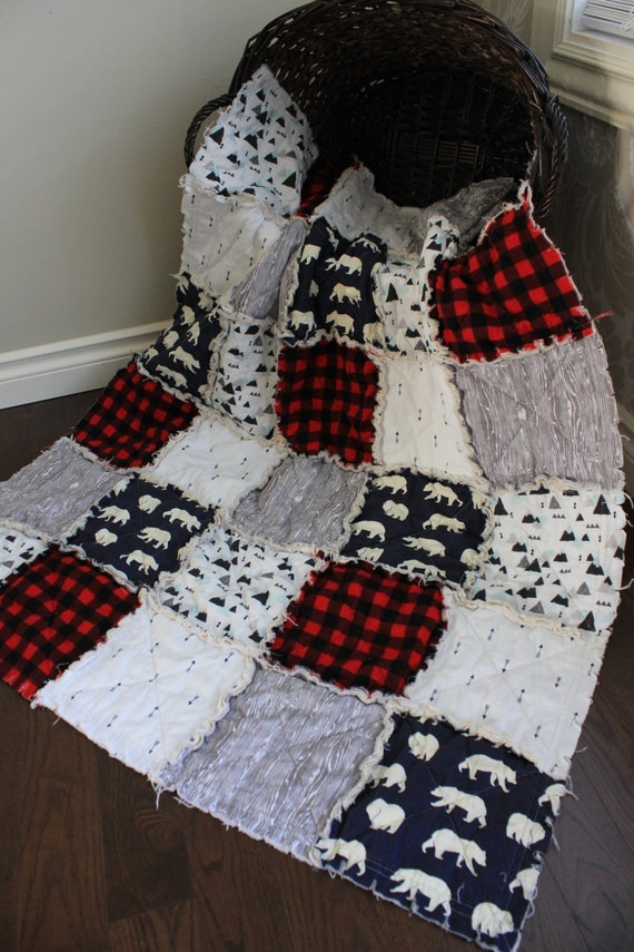 Plaid Baby Quilt: Baby Rag Quilt Baby Crib Quilt Plaid Quilt Mountains