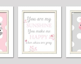 You are my sunshine nursery decor, pink and gray nursery decor, Elephant Baby shower, Pink and Gray Nursery, Choose your colors