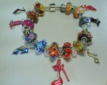 Shoe Shopping European shoes and boots charm bracelet Murano beautiful beads crystals Pugster You pick chain size Help save a cat/kitten