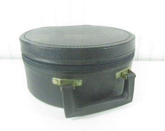 Hat box luggage, Round Suitcase, Mid Century Luggage, Travel Bag, make up bag, black