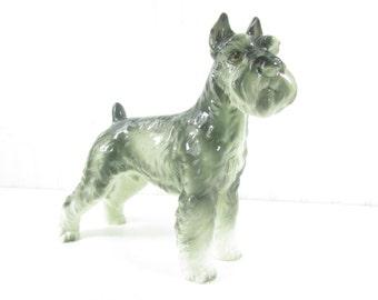 SCHNAUZER DOG FIGURINE, Ceramic Dog, dog figurine, Whimsical, animal,Nick Knack, grey ,gray, gift, collectible