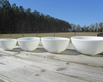 Nesting bowls,White Bowl Set, Mixing Bowl, glass bowls, milk glass bowl, retro,kitchen decor,mid century decor,stacking bowls,