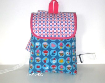 Kids backpack colorful mushrooms with name chain cotton 26 cm x 21 cm x 7 cm