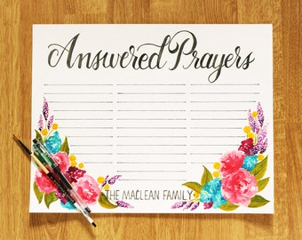 11x14 Customizable PRINT - Answered Prayers - 'War Room' Inspired Answered Prayer Request Poster - Add your family name