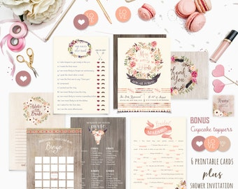Bohemian Floral Bridal Shower Suite - Bridal Shower Invitation Package - DIY Shower Party Pack - Bridal Shower Games - Printable