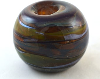 Silver Stripes Handmade Glass Lampwork Bead