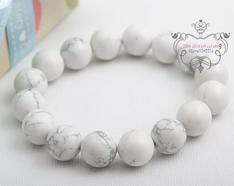 howlite 12mm elastic beaded bracelet natural gemstones